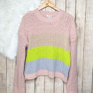 Eyeshadow Colorblock chunky knit sweater L